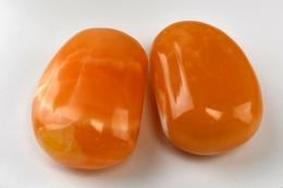 Orangen Calcit Massagesteine